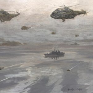 David Cobb RSMA War Artist Helicopter Oil Painting