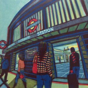 Gail Brodholt Tooting Broadway Tube Station London Linocut