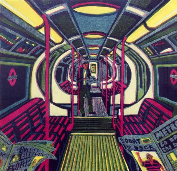 Gail Brodholt Midnight Metro Linocut Artist London