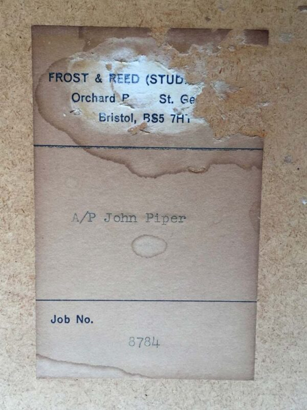 John Piper Artist Silkscreen Signed Print label