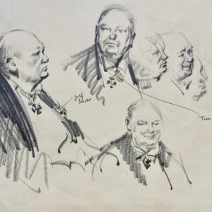 Sir Winston Churchill portraits original drawing by Terence Cuneo