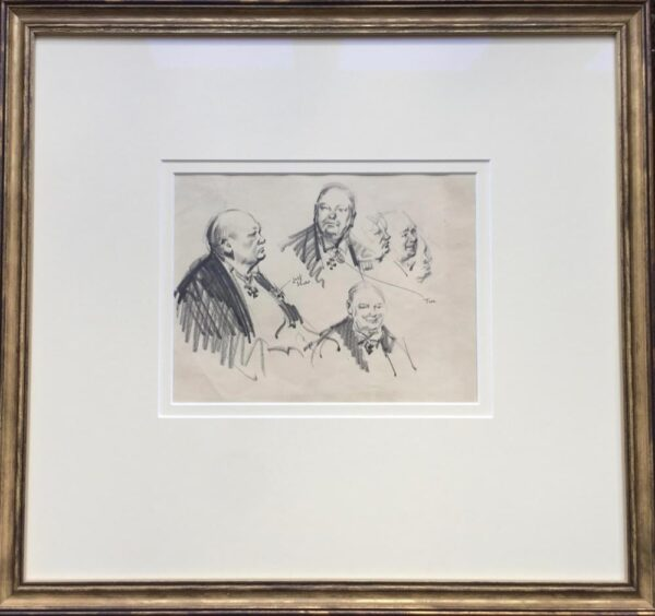 Sir Winston Churchill portraits drawing by Terence Cuneo Framed