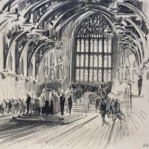 Sir Winston Churchill Lying in State in Westminster Hall by Terence Cuneo