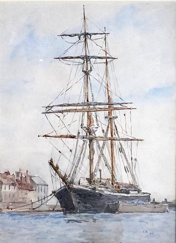 Arthur Briscoe Marine Artist Boat in Harbour