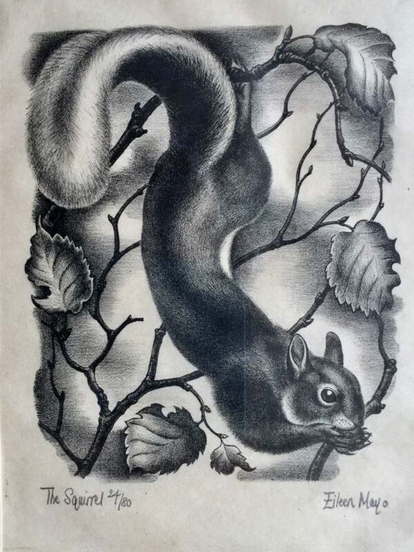 Eileen Mayo Squirrel Wodblock Print