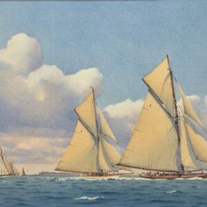 Martin Swan Marine Artist Yachts off Hurst Castle
