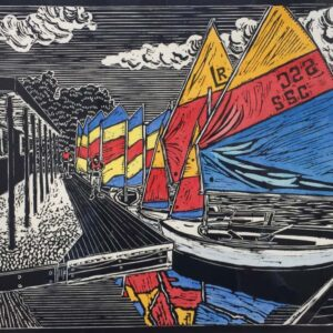Peter Durnell Linocut Salterns Sailing Club