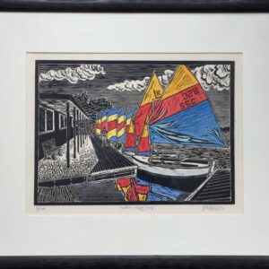 Peter Durnell Linocut Salterns Sailing Club