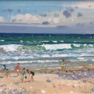 Robert King Marine Artist Children on the Shore