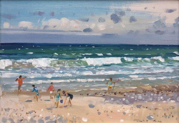 Robert King Marine Artist Children on the Shore