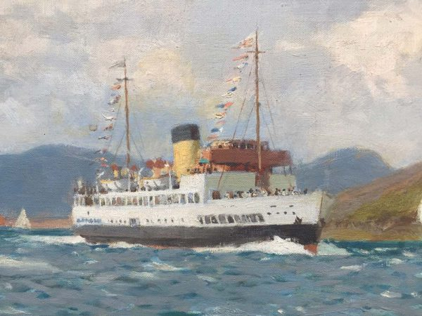 Norman Wilkinson Original signed Oil paining of the TS Queen Mary Paddle Steamer in the River Clyde