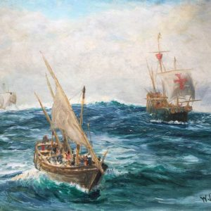 William Lionel Wyllie Oil painting of Christopher Columbus Pinta, Santa Maria and Nina by W.L.Wylloe