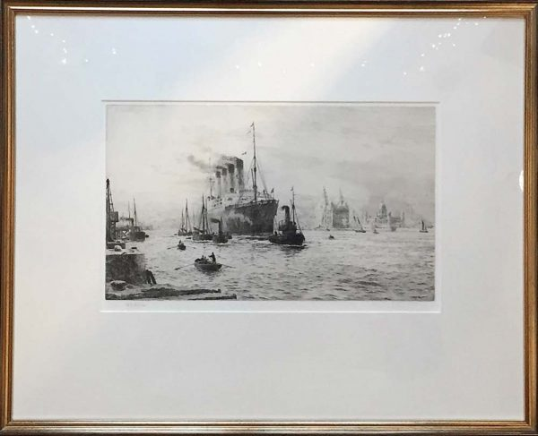 W.L.Wyllie pencil signed copper plate etching RMS Mauretania in Liverpool