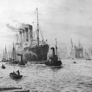 W.L.Wyllie etching RMS Mauretania Liverpool