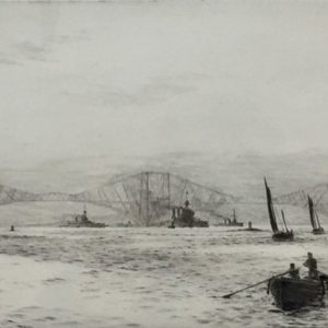 Forth Bridge on the Firth of Forth pencil signed etching by W.L.Wyllie William Lionel Wyllie