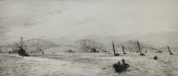 Forth Bridge on the Firth of Forth pencil signed etching by W.L.Wyllie William Lionel Wyllie