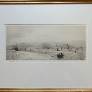 Shipping off the Forth Bridge on the Firth of Forth etching by W.L.Wyllie William Lionel Wyllie