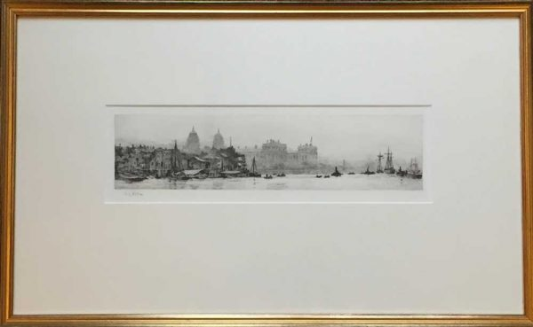 Greenwich Hospital from the River Thames original signed etching by W.L.Wyllie R.A.- William Lionel Wyllie RA