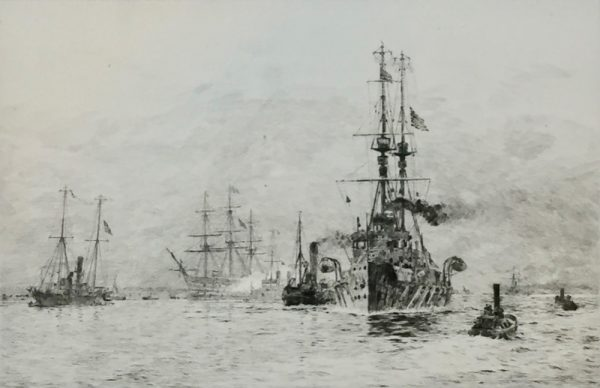 HMS Natal and HMS Victory in Portsmouth Harbour pencil signed etching W.L.Wyllie William Lionel Wyllie RA