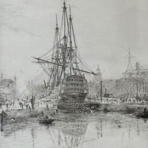 HMS Victory in Portsmouth Dockyard with early submarine original drypoint etching W.L.Wyllie William Lionel Wyllie RA