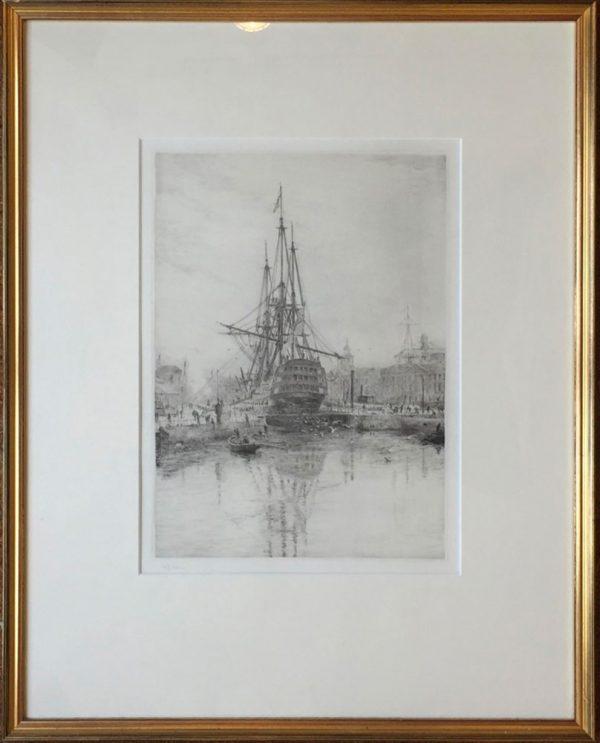 HMS Victory in Portsmouth Dockyard with submarine original drypoint etching W.L.Wyllie William Lionel Wyllie RA