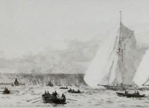 J Class Yachts running past Ryde original signed etching W.L.Wyllie William Lionel Wyllie RA