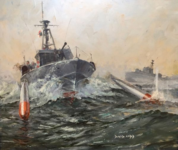 MTB Motor Torpedo Boats firing torpedos by marine artist David Cobb RSMA