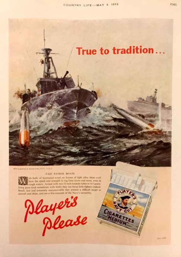 Players Navy Cut Cigarettes advert MTB Motor Torpedo Boat by marine and war artist David Cobb RSMA