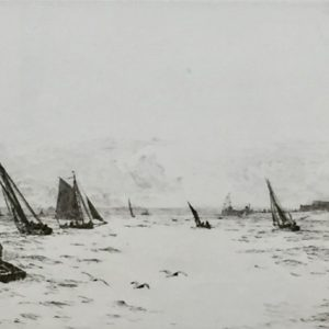 Sailing off Portsmouth Harbour original signed etching by W.L.Wyllie RA - William Lionel Wyllie