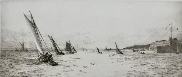 Sailing off Portsmouth Harbour original signed etching by W.L.Wyllie RA - William Lionel Wyllie