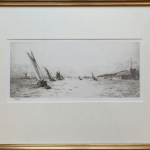 Sailing off Portsmouth Harbour pencil signed drypoint etching W.L.Wyllie RA - William Lionel Wyllie