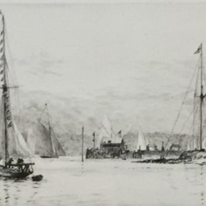 Royal Yacht Squadron Cowes Isle of Wight etching by W.L.Wyllie RA - William Lionel Wyllie
