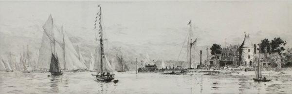 Royal Yacht Squadron Cowes Isle of Wight etching by W.L.Wyllie RA - William Lionel Wyllie