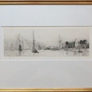 RYS Royal Yacht Squadron Cowes Isle of Wight original pencil signed drypoint etching by W.L.Wyllie RA - William Lionel Wyllie