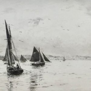 Sailing in the Solent Isle of Wight Signed etching by marine artist W.L.Wyllie William Lionel Wyllie RA