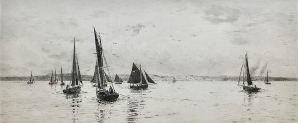 Sailing in the Solent Isle of Wight Signed etching by marine artist W.L.Wyllie William Lionel Wyllie RA
