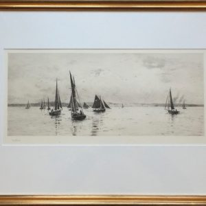 Sailing in the Solent Isle of Wight pencil signed drypoint etching by marine artist W.L.Wyllie
