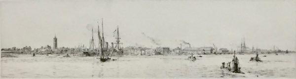 Submarines off Gosport Portsmouth Harbour original signed etching W.L.Wyllie William Lionel Wyllie RA