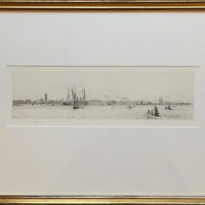 W.L.Wyllie original signed etching of early submarines in Portsmouth harbour.