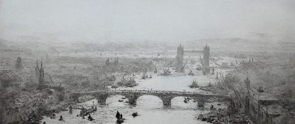 Tower Bridge on the Thames London original pencil signed etching by W.L.Wyllie William Lionel Wyllie RA