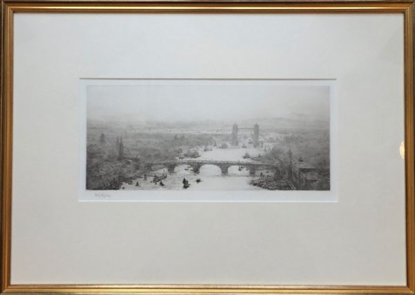 Tower Bridge on the Thames in London original pencil signed etching by W.L.Wyllie William Lionel Wyllie RA