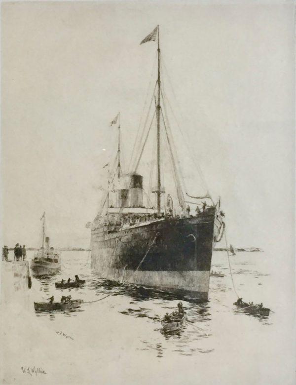 White Star Line Ship signed etching by marine artist W.L.Wyllie William Lionel Wyllie RA