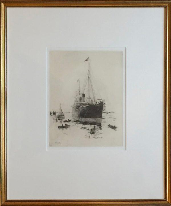 White Star Line Ship pencil signed drypoint etching by marine artist W.L.Wyllie William Lionel Wyllie RA