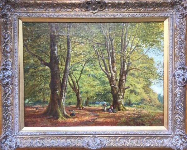 F. Golden Short artist - signed oil painting New Forest pigs with figures.