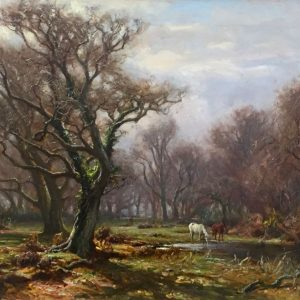 Frederick Golden Short artist - signed oil painting New Forest Ponies by a pond.