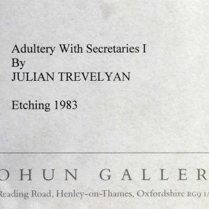 Julian Trevelyan RA Adultery with Secretaries Limited edition etching printed monogram