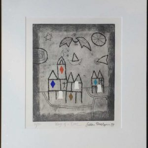 Julian Trevelyan RA Wings of a Dove limited edition etching printed signature
