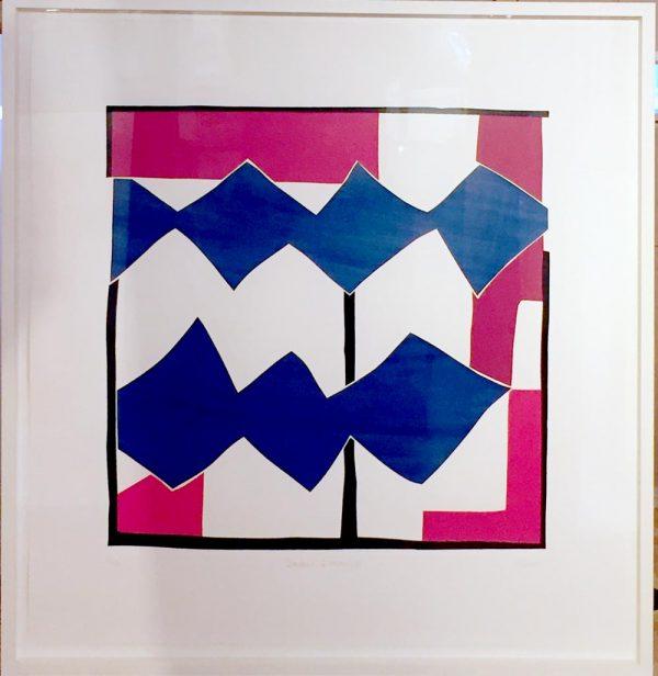 "Sandra Blow RA ""Double Diamond "" Signed Silkscreen Collage For Sale"