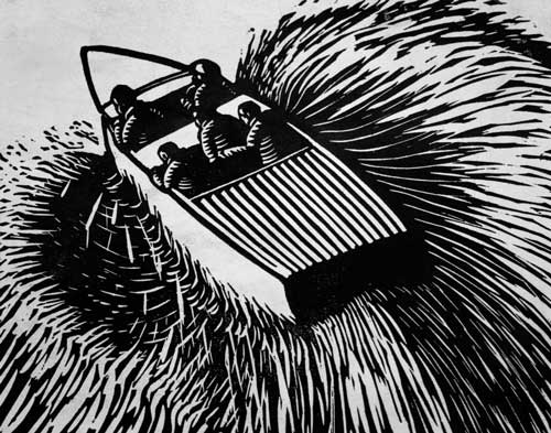 William Kermode Australian Artist Linocut powerboat Print Robert Perera