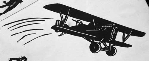 William Kermode Grosvenor School Artist Linocut Biplane Print Robert Perera Fine Art